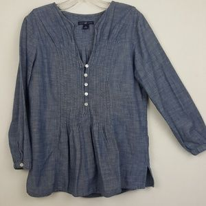 GAP Chambray Pintucked 3/4 Sleeve Tunic Top Sz M